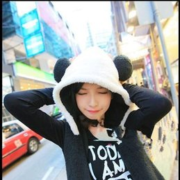 Wholesale Womens Scarf Gloves Set - Wholesale-Panda Cute Hooded Scarf Gloves Winter Hats For Women 2015 Womens Fall Fashion Black White Couple Cap Girls Hats Gorro Beanie