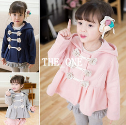 Wholesale Wholesale Flower Winter Coats - autumn winter children coat kids coat flower hooded kids double breasted coat sweatshirts hooded girls kids fleece hoodies free shipping