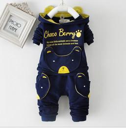Wholesale yellow kids clothes - Spring autumn kids hoodie+pant set 2 pieces children long sleeve letters clothes suit 100% cotton