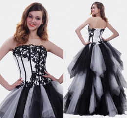 sky blue dresses for quinceanera Promo Codes - Classic White and Black Quinceanera Dresses High Quality A-line Floor Length Pageant Gowns for Girls with Appliques Tiered Ruffles Prom Gown