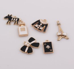 Wholesale Eiffel Tower Jewelry Bracelet - Crystal Rhinestone Enamel Bow Charms Eiffel Tower Clothing Poker Pendant Charms Fit DIY Bracelet Jewelry Findings JJAL ZBE282