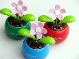 Wholesale Solar Power Flower Pot - T-Best free shipping Solar Powered Dancing Sunflower Flip Flap Toy Flower Bug Bobble Plant Pot Swing