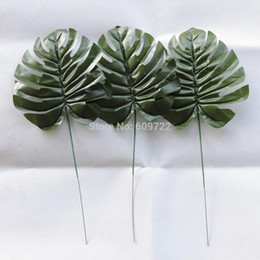 Wholesale New Flower Stamen - Summer New 50pcs Stamen 37cm Fabric Wedding Home Garden Decor Artificial Turtle Palm Tree Plant Leaf Branch Fake Foliage Green