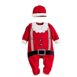 Wholesale baby boy rompers sale - 30pcs lot Samgami Baby Christmas Santa Claus long sleeve Cotton Rompers +hats outfits in Autumn Hot sale For Baby boys girls