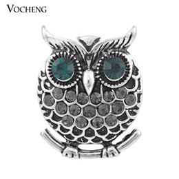 Wholesale Owl Metals - 4 Colors Vocheng Noosa 18mm Vintage Owl Metal Snap Button Jewelry (Vn-900)