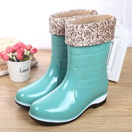 Wholesale Rubber Rain Boots Wholesale - Wholesale- New cotton cover rain boots waterproof mid-calf shoes girl's rain women water rubber charm boots good quality botas size 36-40