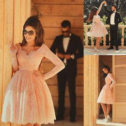 Wholesale Engagement Short Dress - 2016 Short Party Dresses Evening Dresses Long Sleeves Prom Dresses Lace Evening Dresses Knee-Length Prom Dresses Handmade Engagement Dress