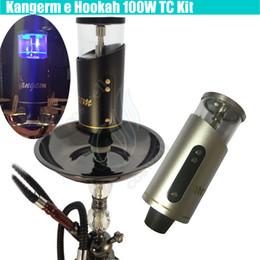 Wholesale Hookah Vapor Cigarettes - New version Kangerm ehookah 100W TC Kit e hookah 50ml 0.2ohm Tank 18650 battery portable Huge vapor bongs atomizer bong dab e cigarettes