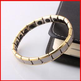 Wholesale Titanium Energy Band Wholesale - Titanium Germaniu Energy Magnetic power Bracelet gold Energy power bracelets Energy Wrist Band for women men health function jewelry 160808