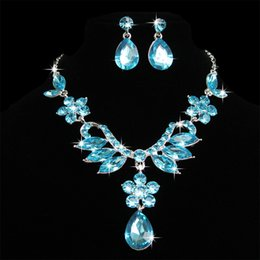 Wholesale Drop Earring Supplies - In Stock Wedding Accessories Jewelry Bridal Jewelry Sets Necklace And Earrings Crystal Shinning Wedding Supplies Women Jewelry WWL