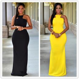 Wholesale Maxi Sales - New style good quality women long dress O-neck sleeveless bodycon dress summer style hot sale black and yellow women dress 60465