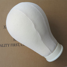 Wholesale Manequin Heads - Polyurethane Canvas foam head for wig making   Wig Display Style Canvas block head Manequin Manikin Head Off-white Color 23inch