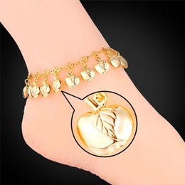 Wholesale Little Girls Bracelets - U7 Anklet Bracelet Gold Charms Summer Jewelry Foot Bracelet For Women 18K Real Gold Platinum Plated Little Apples Barefoot Sandals A940