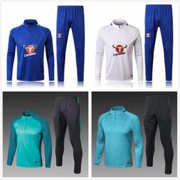Wholesale jogging suits winter - 2017 2018 Long Winter Training Suit Blues Tracksuit Jogging Survetement Sweater The Blues Soccer Sets Hazard Suits Tracksuit Long Warm Up