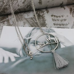 Wholesale Europe Style Big Necklace - Europe and the United States style bamboo leaves, birds, big circle, tassel long necklace, female sweater chain