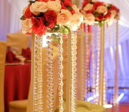 Wholesale Beaded Crystal Curtains - 50M Lot Transparent Crystal Octagonal Beaded Chain Curtain Acrylic Bead Garland Chain Craft Supplies For Wedding Chandelier Table Decoration