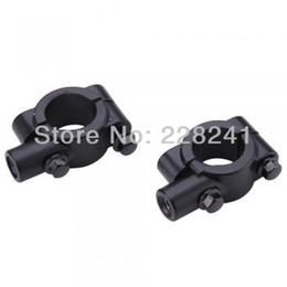 Wholesale Mirror 8mm - Wholesale-Pair Motorcycle Bike Handlebar Mirror Mount Adapter Holder Clamp Black 8mm