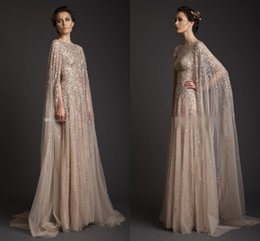 Wholesale Celebrate Dresses - Real Image!Krikor Jabotian Stunning Sexy Decent Scoop Sequin A-line Formal Gown Sweep Train With Cloak Saudi Arabia Celebrate Prom Dresses