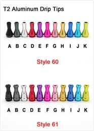 Wholesale Ecig T2 - Colored T2 Aluminum Drip Tips 510 Screw T2 replacement drip tips 510 mouthpieces for T2 tank Ecig MOQ 50 pieces Epacket Free shipping