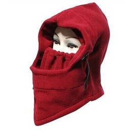 Wholesale Face Guarding - Wholesale- Mounchain Outdoor Winter Fleece Face Guard Masked Windproof Warm Pullover Drawstring Cycling Hat