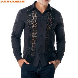 camicie maniche lunghe maniche Sconti JAYCOSIN New Cotton Lace Hollow Shirt Uomo Slim Fit Camicie Uomo Dress Shirt Manica lunga da uomo Stand Primavera Camicie 2019