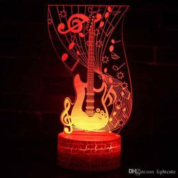 2019 luce dell'umore remoto Remote 16 colori Nota musicale chitarra tema 3D della lampada LED di notte cambiamento di colore chiaro di umore di tocco della lampada di Natale Dropshippping luce dell'umore remoto economici