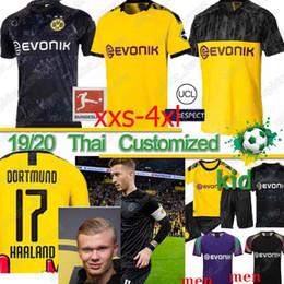 2019 mangas compridas com camisa ronaldo Thai Borussia Dortmund 17 Haaland jérsei 110 19 20 Götze REUS PULISIC Witsel Jersey Paco Alcácer camisa de futebol HOMENS conjuntos kit XXS-4XL