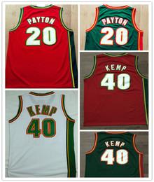 Wholesale Envío gratis de alta calidad Jersey Todos Gary Payton Jerseys Shawn Kemp Blanco verde bordado rojo Baloncesto Jersey tamaño S XXL