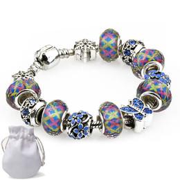 bijoux en diamant bleu Promotion Authentique Charme Bracelets Fit Pandora Femmes Argent Multicolore Cristal De Verre Cristal Perles Bracelets Bracelet Bracelet Diamant Bleu Papillon Bijoux P70