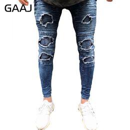 dunkle wäsche zerrissene dünne jeans Rabatt GAAJ Men Moto Jeans Wash Dunkelblaue Röhrenhose Ripped Destroy Biker Jean Elastizität Reißverschluss Hiphop Denim Hose # HJB1L