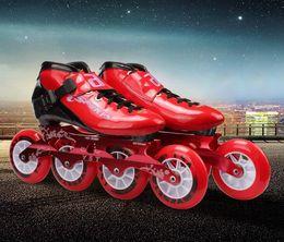 2019 rad inline Geschwindigkeit Inline Skates Kohlefaser Racing Skating Patines Professionelle 4 * 100 / 110mm Competition Skates 4 Räder mit hoher Qualität günstig rad inline
