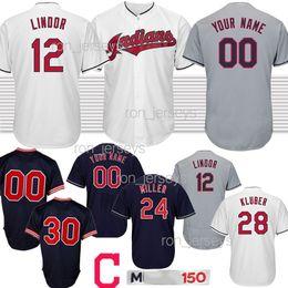 Indiano de beisebol on-line-12 Francisco Lindor Cleveland Homens Indianos 30 Joe Carter Jersey bordado 28 Corey Kluber 10 Edwin Encarnacion basebol Jersey 2020