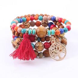 Abalorios bohemio online-Bohemian Multilayer Charm Bracelets Colorul cuentas de madera pulsera Life Tree colgante borla elástica pulseras brazaletes para mujeres hombres joyería DHL