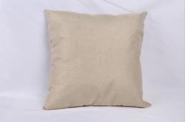 Cuscini di tiro solido online-40 * 40 cm Fodera per cuscino in lino bianco per stampa a trasferimento termico copridivano tinta unita copriletto fodere per federa