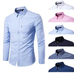 2019 оксфорд рубашки стиль мужчины High Quality Men's Fashionable Shirt Oxford Cloth Large Size Business Long Sleeve Shirt Casual Style Cotton Blend Comfortable дешево оксфорд рубашки стиль мужчины