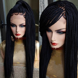 wig styles Coupons - 200density full Micro Box Braids wig black brown burgundy blonde color Synthetic Braiding Hair wig africa women style lace front braids wig