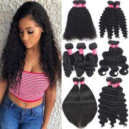 2019 tração de cabelo liso vietnamita 9A Feixes de Cabelo Virgem Brasileiro Onda Do Corpo Onda Solta Onda Profunda Kinky Curly Remy Cabelo Wefts Malaio Extensões de Cabelo Humano Peruano Weave