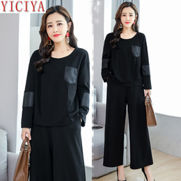 4784154b71ec YICIYA black 2 piece set sweatsuits outfits tracksuits for women plus size  large big co-ord set pant and top autumn winter
