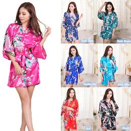 Accappatoio da notte floreale in raso di seta a 14 colori Kimono corto da notte per donna con accappatoio floreale C791 cheap women silk flowers da fiori di seta da donna fornitori