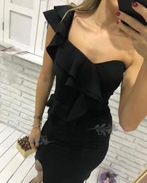 Élégante robe de soirée noir une épaule en Ligne-Robe de cocktail noire élégante pas cher