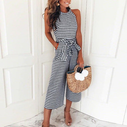589e12b11f19 2018 summer womens jumpsuit romper Sleeveless Striped Jumpsuit Casual  Clubwear Wide Leg Pants Romper womens jumpsuit C30814 C19010801