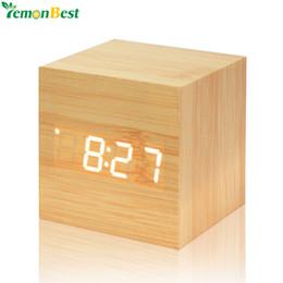 Brilho da madeira on-line-Led Digital Termômetro De Madeira LED Backlight Controle De Voz De Madeira Retro Brilho Relógio de Mesa De Mesa Despertadores Luminosos