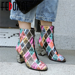 FEDONAS Winter New Prints Kunstleder Strange Heels Kurze Stiefel Tanzschuhe Frau Marke Warm Plus Size Frauen Stiefeletten