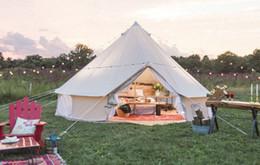 Tienda de lona de la familia online-Cuatro Carpa Impermeable Estación supervivencia algodón grande de Bell lienzo Tienda de los indios norteamericanos 6M Family Camping Carpas de camping resistente al agua