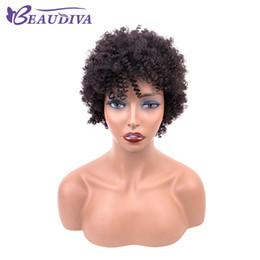 Perucas de cabelo humano afro curto on-line-Cor natural afro crespo Encaracolado cabelo humano Perucas Remy Brasileiro Virgem Cabelo Curto Perucas de Cabelo Humano Para As Mulheres Beau Diva