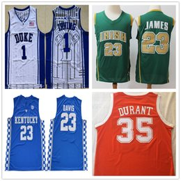 dauernde basketball-trikots Rabatt NCAA Mens Anthony 3 Davis LeBron James 23 Jersey 35 Kevin Durant 7 Kyrie Irving 11 College-High-School-Basketball-Trikots genähte