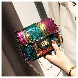 6c162ed28 2019 bolsa do mensageiro colorido Mulheres lantejoulas mensageiro sacos  quadrados ao ar livre festa feminina coin