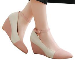 correa del tobillo tacones cerrados del dedo del pie Rebajas 2019 mujeres de la plataforma del dedo del pie cerrado Zapatos Primavera Verano Diseñador cuña en punta con cierre de tiras sandalias de las bombas de los altos talones de las señoras # G35