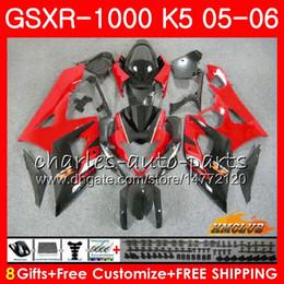 kits corpo k5 Desconto Corpo + Capota Para SUZUKI GSXR-1000 GSXR 1000 05 06 Carroçaria 11HC.38 GSX-R1000 GSXR1000 05 06 K5 GSX R1000 stock vermelho novo 2005 2006 Kit de carenagem