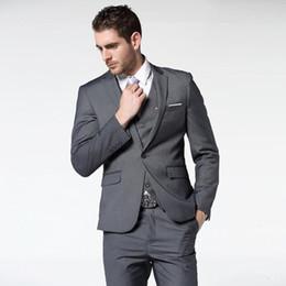Nuevos trajes gris oscuro para hombres de negocios Trajes de novios de bodas 3 piezas (chaqueta + pantalón + chaleco) Trajes de novio Vestido de fiesta 112 desde fabricantes